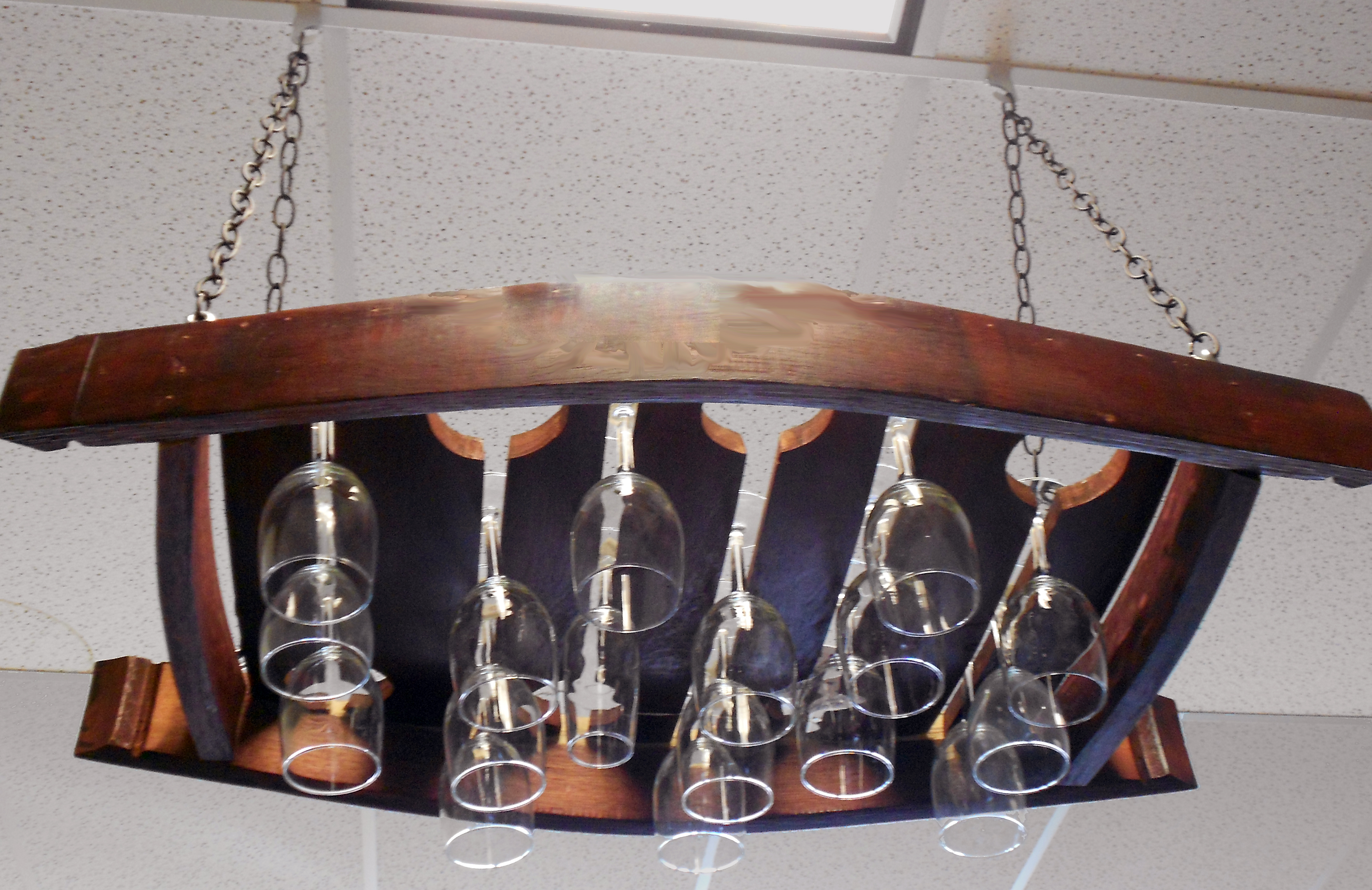 Hanging wine rack with glass holder - Hanging Wine Glass Holder